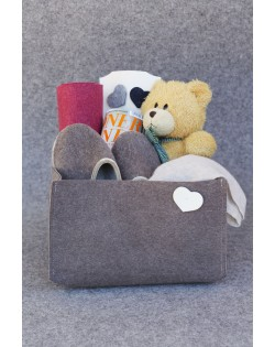 Practical storage box made of natural Haunold fulled felt in XL
