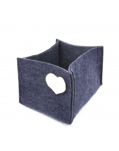 Haunold felt container of fine merino wool, blue with white hearts