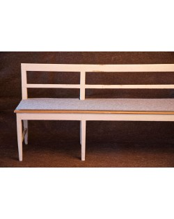 Custom-made bench pads and seat pads for corner benches, outdoor chairs and more in natural gray and white