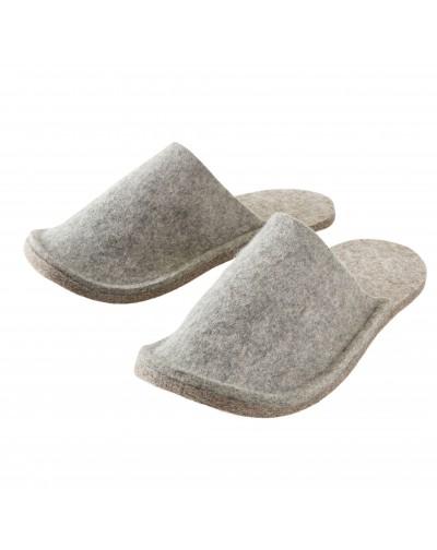Gästepantoffeln Haunold aus reiner Schaf-Schurwolle, für Damen, Herren und Kinder, grau