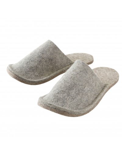 Haunold Slippers for guests in grey for women, men and children, of virgin sheep wool