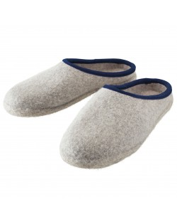 Backless felt slippers of virgin sheep wool for women, men and children grey-blue by Haunold
