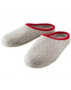 Offene Filzpantoffeln aus reiner Wolle für Damen, Herren und Kinder in grau-rot von Haunold
