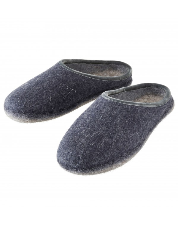 Backless felt slippers of virgin sheep wool for women, men and children blue-grey by Haunold