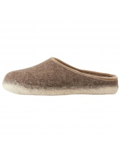 Backless felt slippers of virgin sheep wool for women and men brown-beige by Haunold