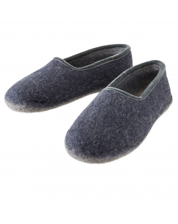 Felt slippers of virgin sheep wool for women, men and children blue-grey by Haunold