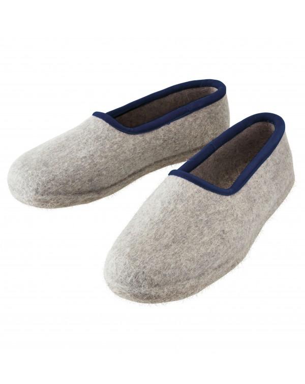 Geschlossene Filzpantoffeln aus reiner Wolle für Damen, Herren und Kinder in grau-blau von Haunold