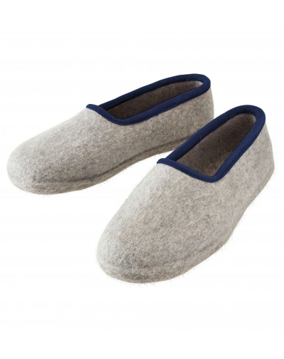 Pantofole chiuse in feltro per signore, signori e bambini in grigio-blu di Haunold, in pura lana