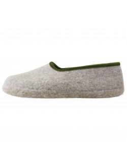 Felt slippers of virgin sheep wool for women, men and children grey-green by Haunold