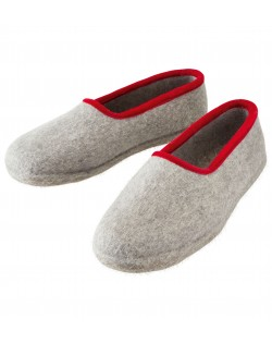 Felt slippers of virgin sheep wool for women, men and children grey-red by Haunold
