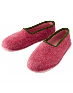 Felt slippers of virgin sheep wool for women and men red-green by Haunold