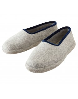 Felt slippers with heel for women and men, of virgin sheep wool, grey-blue by Haunold
