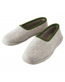 Felt slippers with heel for women and men, of virgin sheep wool, grey-green by Haunold
