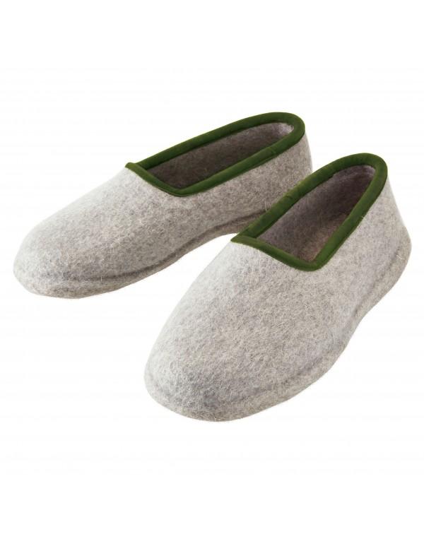 Pantofole chiuse con tacco, in feltro per signore e signori in grigio-verde di Haunold, in pura lana