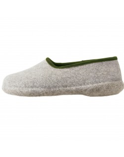 Geschlossene Filzpantoffeln mit Absatz aus reiner Wolle für Damen und Herren in grau-grün von Haunold