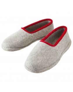 Felt slippers with heel for women and men, of virgin sheep wool, grey-red by Haunold