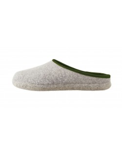 Backless felt slippers of virgin sheep wool for women, men and children grey-green by Haunold