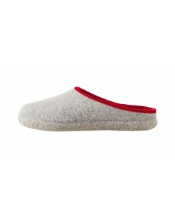 Backless felt slippers of virgin sheep wool for women, men and children grey-red by Haunold