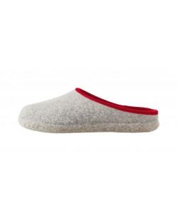 Pantofole aperte in feltro per signore, signori e bambini in grigio-rosso di Haunold, in pura lana