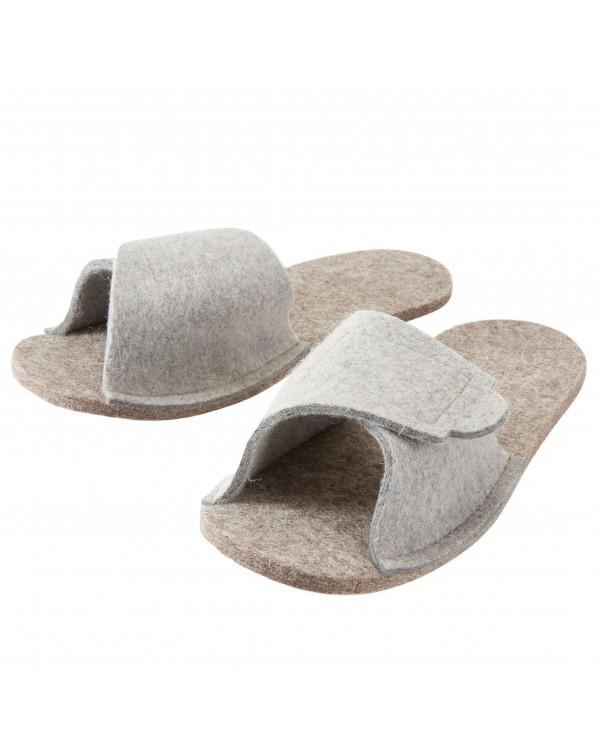 Pratiche soprascarpe in pura lana vergine, facilmente regolabili con il velcro, in grigio