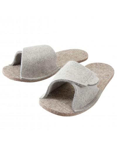 Überzieh-Pantoffeln für Straßenschuhe aus reiner Schaf-Schurwolle, regulierbar mit  Klettverschluss, in grau