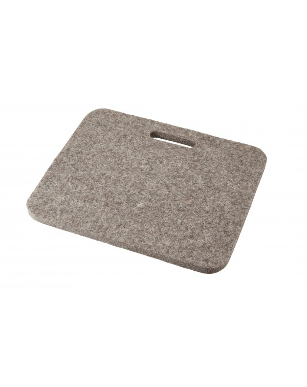 Seat pad Jaga big with handle, of Haunold fulled felt, approx. 1 cm thick, natural gray