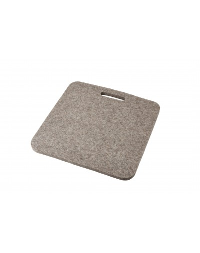 Seat pad Luxus with handle, of Haunold fulled felt, approx. 1 cm thick, natural gray