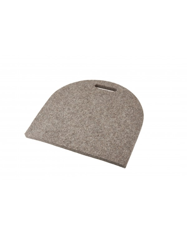 Seat pad Semi-circular with handle, of Haunold fulled felt, approx. 1 cm thick, natural gray