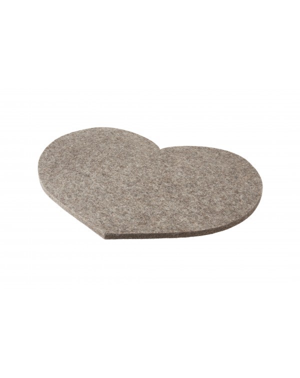 Seat pad Heart of Haunold fulled felt , approx. 1 cm thick, natural gray
