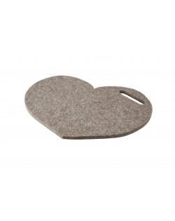 Cusino Cuore con maniglia in feltro follato Haunold, spesso ca. 1 cm, grigio naturale
