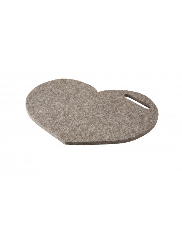 Seat pad Heart with handle of Haunold fulled felt, approx. 1 cm thick, natural gray