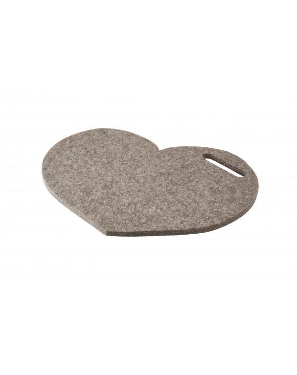 Haunold Sitzkissen Herz mit Haltegriff aus Walkfilz, ca. 1 cm dick, naturgrau