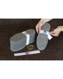 Haunold felt soles for do-it-yourself slippers of fulled felt, 100% virgin sheep wool