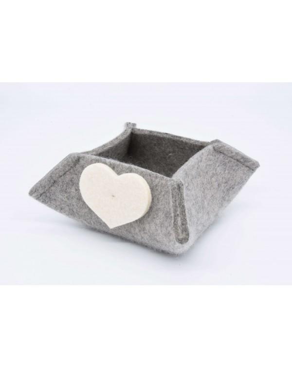 Haunold felt box of fine merino wool, grey with white hearts, small