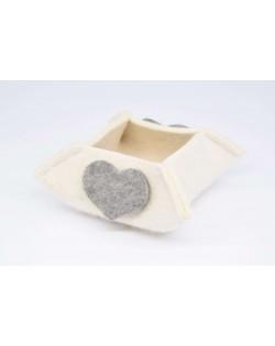 Haunold Filzkörbchen aus feiner Merinowolle, wollweiß mit grauem Dekoherz, small
