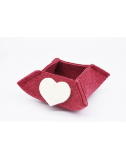 Haunold felt box of fine merino wool, red with white hearts, small
