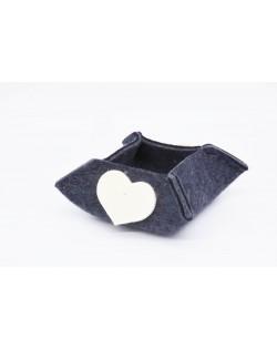 Haunold felt box of fine merino wool, blue with white hearts, small