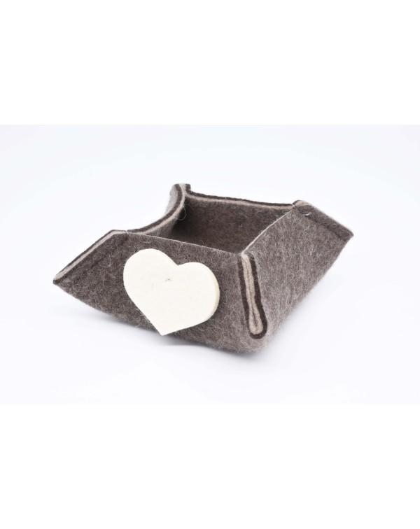 Haunold felt box of fine merino wool, brown with white hearts, small