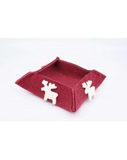 Haunold felt box of fine merino wool, red with white elks, medium