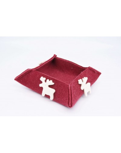 Haunold felt box of fine merino wool, red with white elks, medium