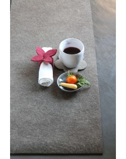 Haunold table runner of natural wool felt, an alternative to the tablecloth