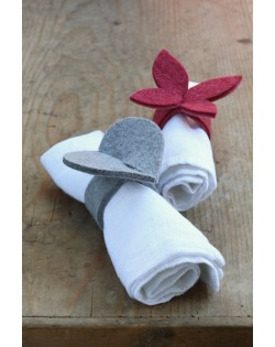 Haunold napkin holders of natural wool felt in two shapes: butterfly and heart