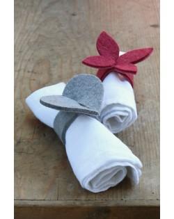 Portatovaglioli di feltro Haunold in due forme: cuore e farfalla, pura lana