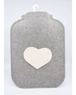 Hot water bottle cover made of Haunold fulled felt, grey with white heart at the front