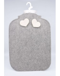 Hot water bottle cover made of Haunold fulled felt, grey with two white hearts at the back