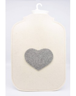 Hot water bottle cover made of Haunold fulled felt, wool white with grey heart at the front