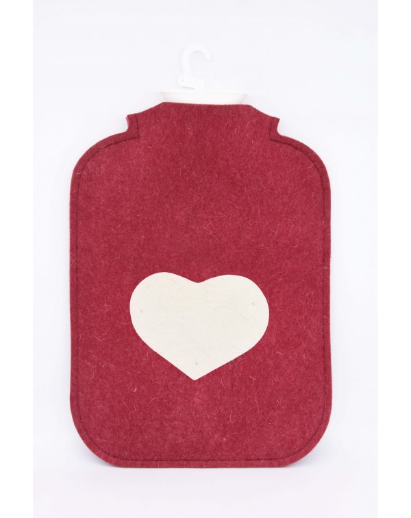 Hot water bottle cover made of Haunold fulled felt, red with white heart at the front