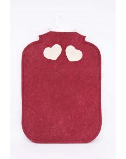 Copri borsa acqua calda di feltro follato Haunold, rosso con due cuoricini bianchi sul retro