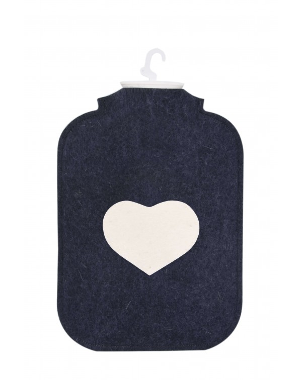 Hot water bottle cover made of Haunold fulled felt, blue with white heart at the front