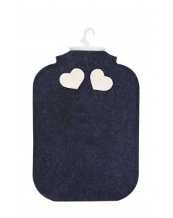 Hot water bottle cover made of Haunold fulled felt, blue with two white hearts at the back